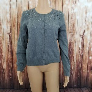 Carolyn Taylor Sweater Small Gray Sequin